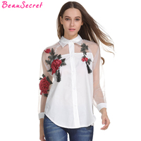 Organza Rose Embroidery Shirt Women Long Sleeve White Blouse 2017 Tassel Tops Plus Size Women S
