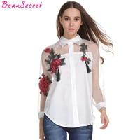 Organza Rosa Bordado Camisa de Manga Longa Mulheres Blusa Branca 2017 Tassel Tops Plus Size Shirt das Mulheres Roupas Baratas China