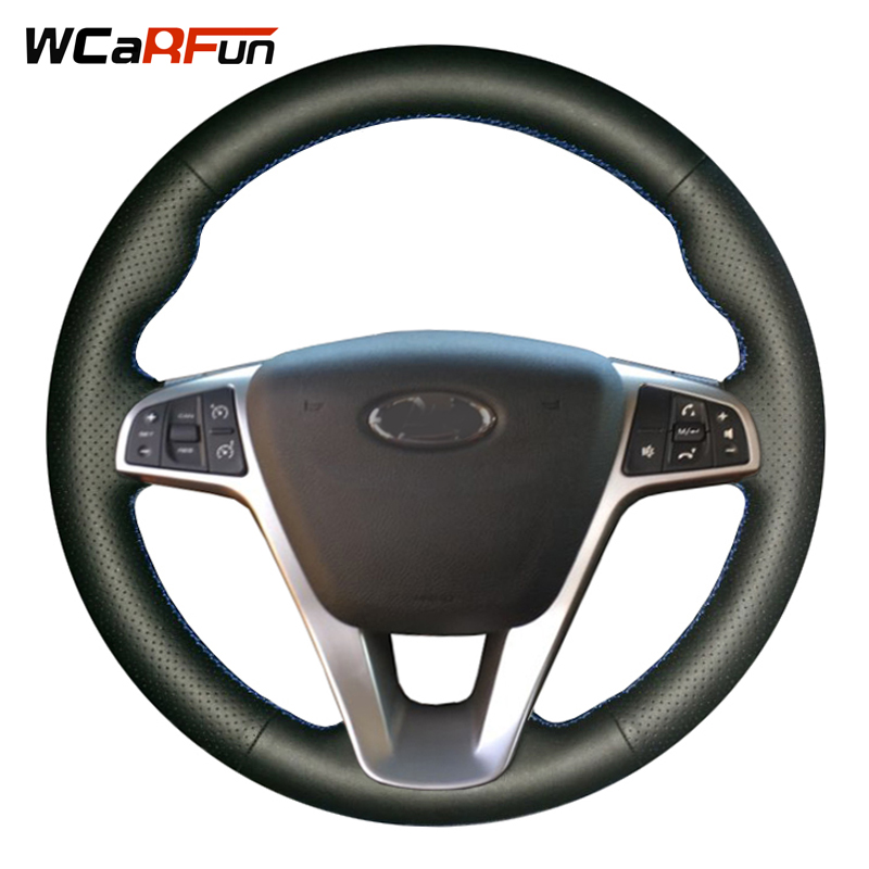 WCaRFun DIY Black Leather Hand-stitched Car Steering Wheel Cover for Lada Vesta 2015 2016 2017 mtsooning motorcycle mp3 player atv audio music system support usb 12v motorbike fm radio with speakers motorcycle music player