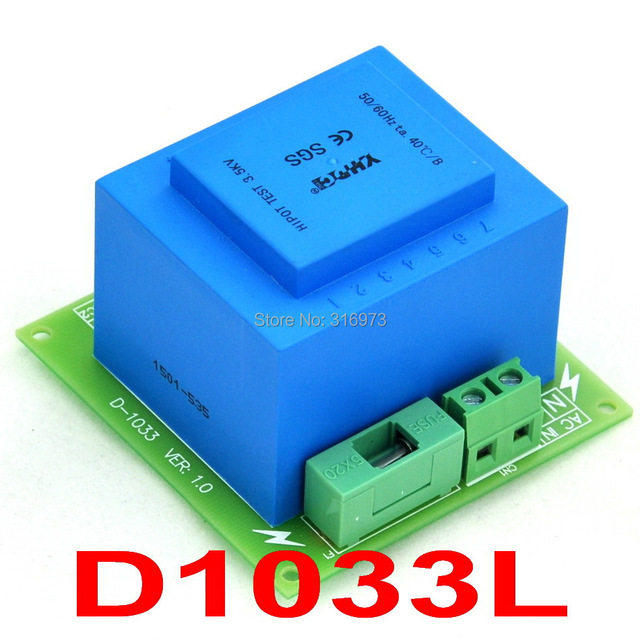 115VAC primaria, secundaria 2x VAC, 20VA Transformador De Potencia Módulo, D-1033/L, AC18V