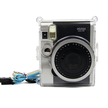 Fujifilm Instax Mini NEO Classic 90 인스턴트 카메라 보호용 크리스탈 클리어 캐리 케이스 하드 커버 백 (어깨 끈 포함)