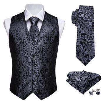Designer Mens Classic Black Paisley Jacquard Folral Silk Waistcoat Vests Handkerchief Tie Vest Suit Pocket Square Set Barry.Wang 1