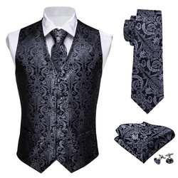 Дизайнерская мужская классическая черная жаккардовая жилетка с узором пейсли, Шелковый жилет, жилет с галстуком-бабочкой, Карманный