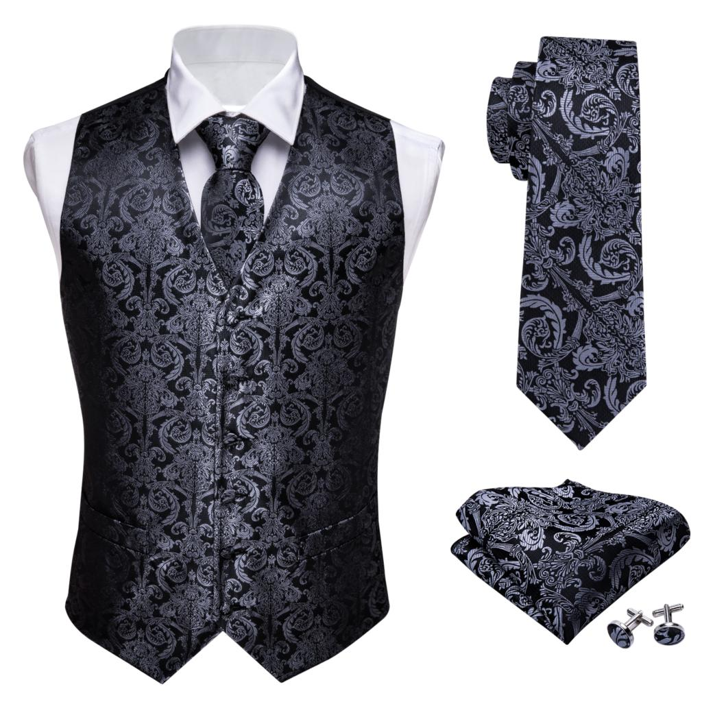 Designer Mens Classic Black Paisley Jacquard Folral Silk Waistcoat Vests Handkerchief Tie Vest Suit Pocket Square Set Barry.Wang