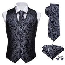 Designer Mens Classic Black Paisley Jacquard Folral Zijde Vest Vesten Zakdoek Tie Vest Suit Pocket Plein Set Barry.Wang