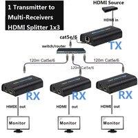 1x3 HDMI Splitter 1 передатчик 3 приемников 1080 P HDMI Extender по сети Cat5 Cat5e Cat6 RJ45 Extender HDMI Splitter 1X3