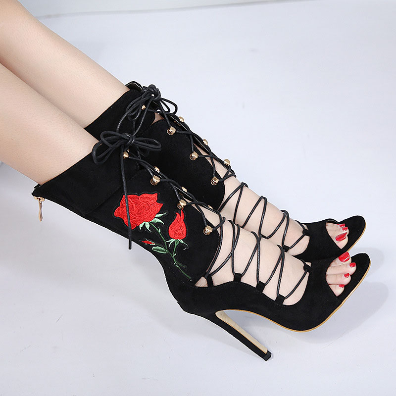 New Shoes Women Sandals Sexy Women's shoes Embroidered Gladiator Lace up Peep Toe Sandals Bandage High Heel sandals Ankle boots цена