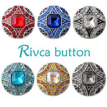 D02857-6 Hot High Quality crystal styles 18mm Metal Snap Charm Rhinestone Styles rivca Snap Jewelry Women Fashion Handmede Butt(China)