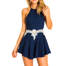 624ca6e16374 Women's Fashion Sexy Ladies Backless Jumpsuit Lace Splice Playsuits Sling Navy  Rompers Casual party sleeveless Jumpsuit