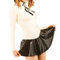 Latex Skirts With Long Sleeves Shirt Latex School Girls Uniform (NO Tie)Latex Rubber Outfits