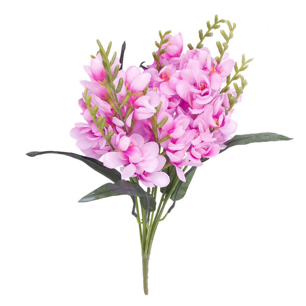 Alim 1 x artificial freesia flower bouquet with 9 fork stems for 1 x artificial freesia flower bouquet with 9 fork stems for home office wedding decor izmirmasajfo Gallery