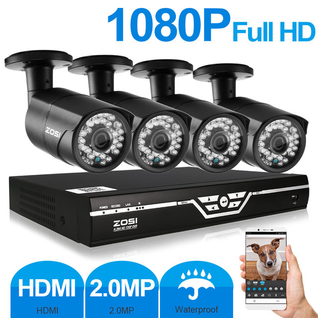 ZOSI 4CH 1080P AHD DVR 2.0MP 1080P CCTV Camera P2P WIFI Home Outdoor Security Camera Surveillance CCTV System Kits