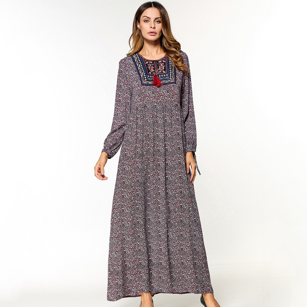 2018 hot sale maxi dress women print O neck casual dress ...