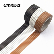 Umitive 10M Grid Washi Tape Stickers Masking Tape Japanese Paper DIY Scrapbooking Decorative Stationery handsome boy washi tape 4 5cmx5m masking tape decorative scrapbooking japanese stationery washitape school supply material