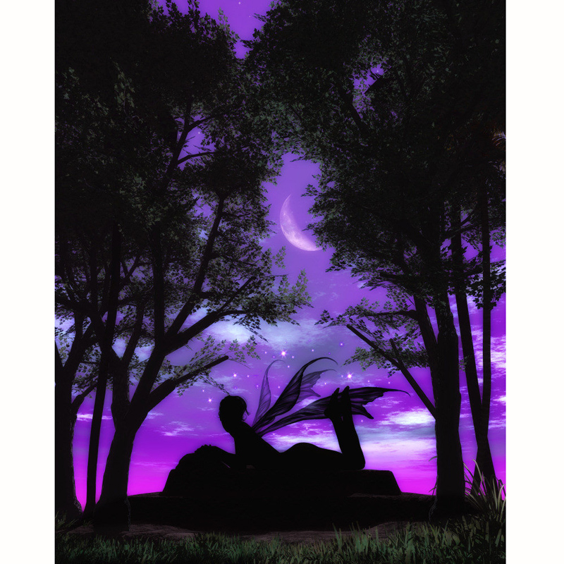 5D DIY Алмазная мозаика Вышивка Moon пейзажа эльф алмаз живопись полный квадратный/Круглый Rhinestone крестиком огни Декор дома