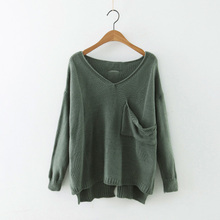 2016 new mori girl women's cutout pullover top V-neck long-sleeve knitted basic shirt casual loose solid color sweater thin