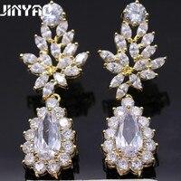 Jinyao moda joyería waterdrop amarillo oro color austríaco cristal cúbicos zirconia Pendientes de broche para las mujeres boda joyería