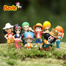 Bevle One Piece Cartoon Characters 8 Piece/lot PVC Action Figure 4.5cm Monkey D Luffy/Roronoa Zoro Doll Figure Toy
