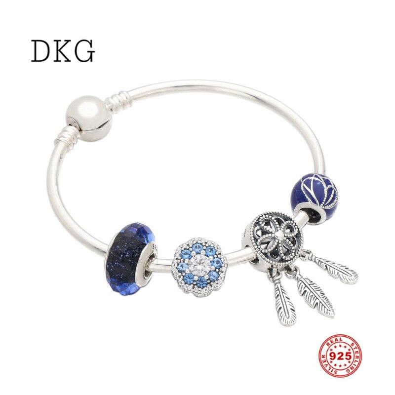 2109 nouveau 925 argent Sterling bleu papillon aile étincelle fleur capteur de rêves charme ensemble Bracelet Fit femmes Original bijoux à bricoler soi-même