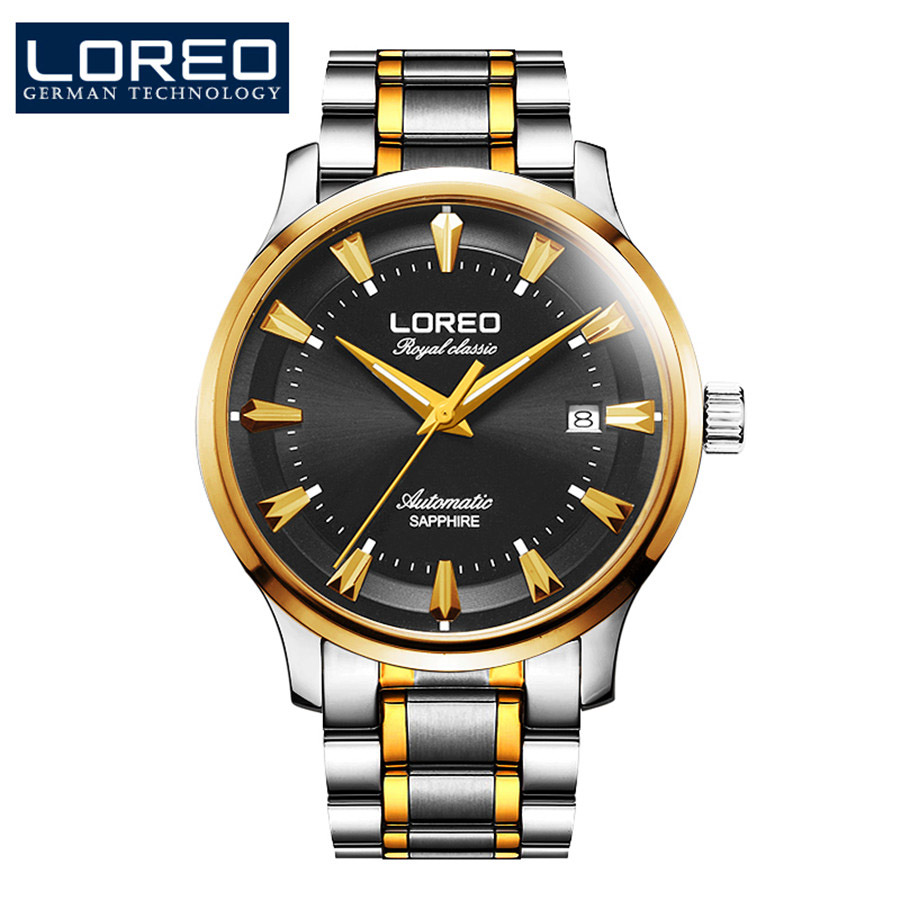 цена на 2017 LOREO Black Gold Full Stainless Steel Automatic Mechanical Watch Men Sapphire Auto Date Mens Designer Watches Clock Men