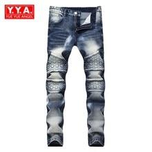 2018 Primavera New Fashion Men's do Motociclista Jeans de Corpo Inteiro Fino Fit Calças Homem Streetwear Para Pintar Calça Calca Masculina Mais tamanho