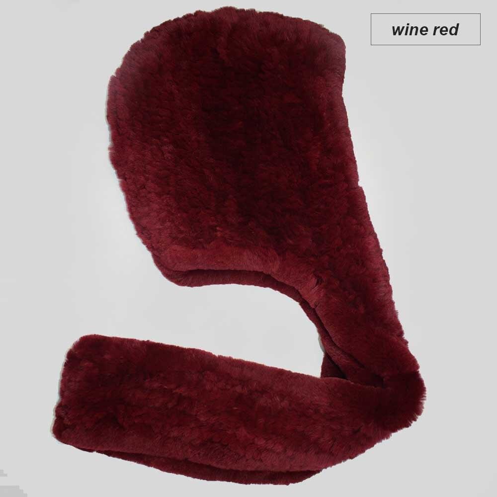 knit rex fur scarf wine red