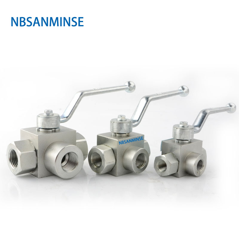 NBSANMINSE Hydraulic High Pressure Ball Valve KHB 3 Way Valve Male Thread KHB3K - G 1/4 3/8 1/2 31.5Mpa Carbon Steel Valve