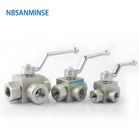 NBSANMINSE Hydraulic High Pressure Ball Valve 3 Way Valve Male Thread KHB3K G 1/4 3/8 1/2 31.5Mpa Carbon Steel Valve