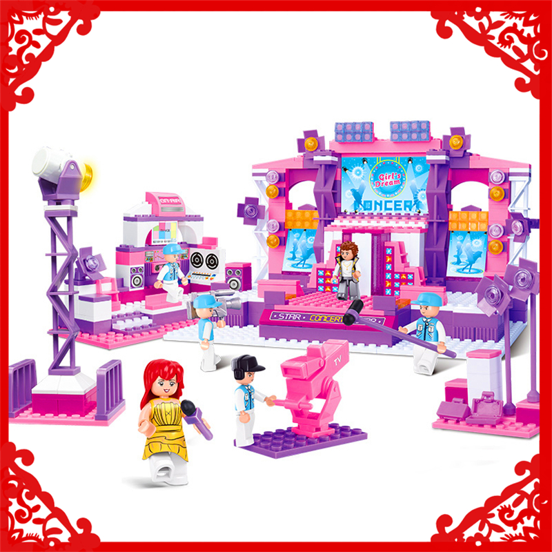 SLUBAN 0255 Block Girl Dream Dancer Stage Model 430Pcs DIY Educational  Building Toys Gift For Children Compatible Legoe sluban 2500 block vehicle maintenance repair station 414pcs diy educational building toys for children compatible legoe