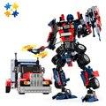 Wmx 8713 377 pcs série caminhão modelo blocos de construção diy define brinquedos robô 2 em 1 lobo diy brinquedo educativo
