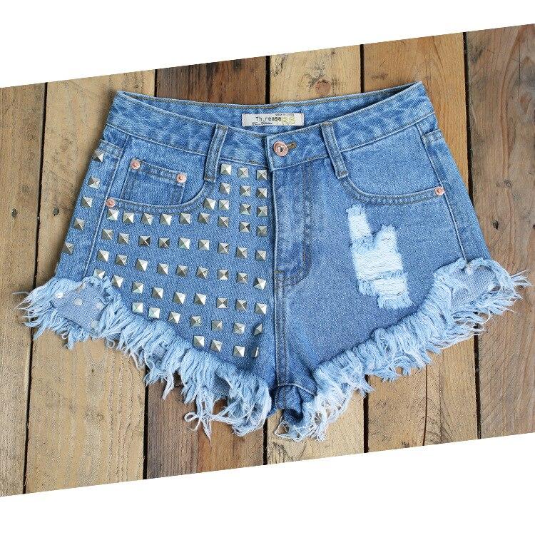 QA864 New hole ripped jeans women high waist rivet irregular hem tassel denim   shorts   mujer plus size