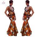2017 Африканских Юбка Набор для Женщин V-образным Вырезом свадебное платье Африканский Dashiki Юбка Блузка DesignTracksuit Хлопок Одежда 6xl WY1143
