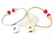 Snap Bracelet&Bangles High quality Alloy bracelet fit 18mm charm button snaps jewelry silver gold 2 colors 1