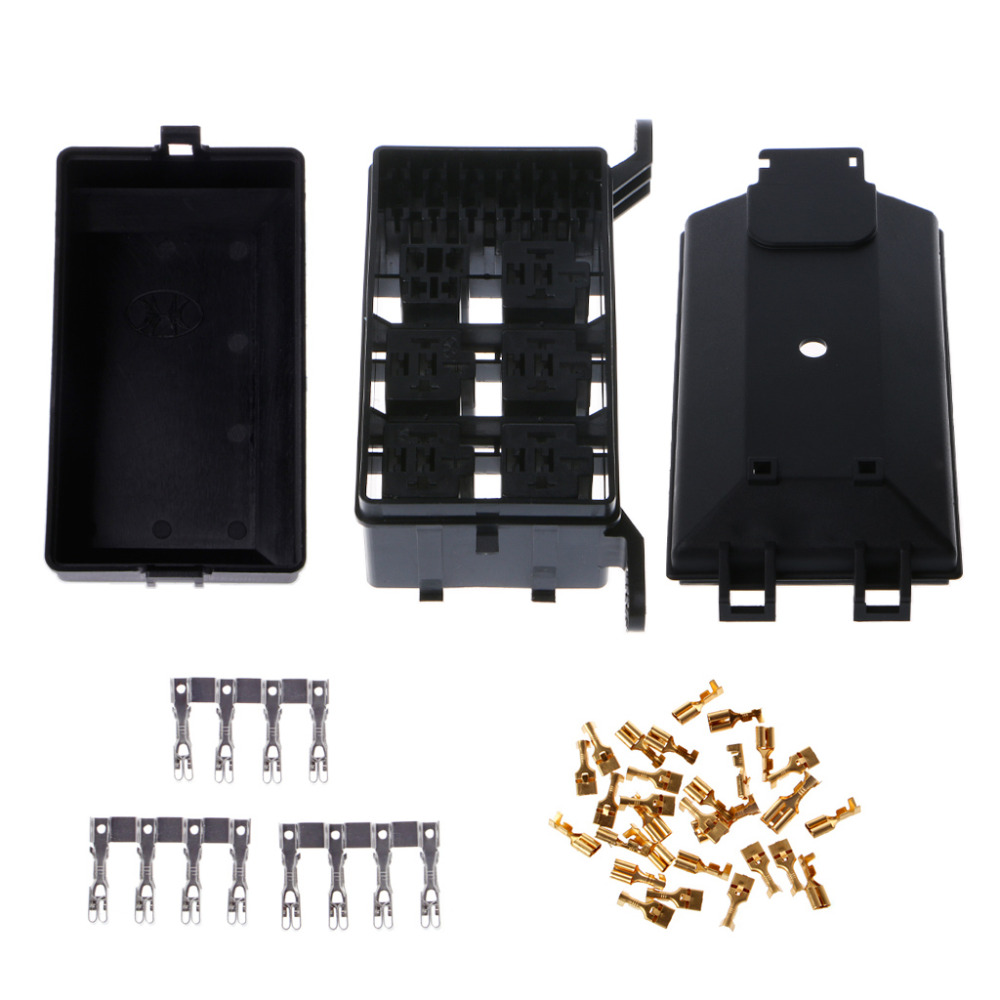 hight resolution of 1pc new auto fuse socket box 6 relay holder 5 road for nacelle car truck suv insurance 1a40879