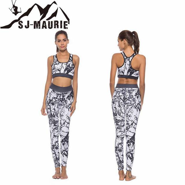 3e66bd9ffd6ca US $12.82 45% OFF|Women Yoga Set Printed Running Set Bra+Leggings Sports  Suit Vintage Sports Vest+Pants Gym Tracksuit-in Running Sets from Sports &  ...