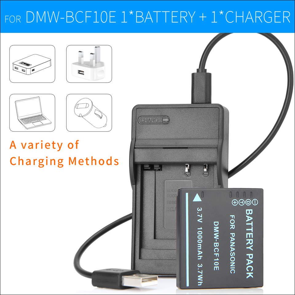 Батарея + Зарядное Устройство для Panasonic Lumix Камеры CGA-S/106C CGA-S/106D CGA-S/106B <font><b>S009</b></font> DE-A60B DE-A59B DMW-BCF10E DMW BCF10E DMC-F2