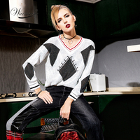 Top Quality glitter stone short Sweater Female 2019 New Runway Design Luxury Bling Chic Women's Knitwear Oversize Pullover C 322