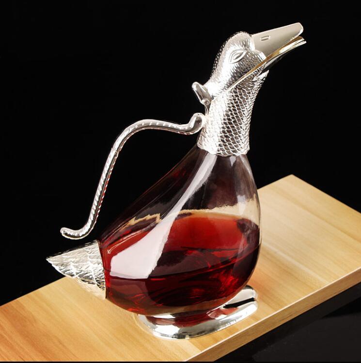 Unique alliage de canard en métal verre de vin cocktail shaker jus boissons boissons carafe drinksware accessoire de bar JJ038