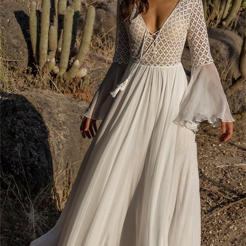 Sexy Lace Up Deep V Neck 2019 Summer Beach Tunic Dress Flare Sleeve Lace Patchwork White Chiffon Maxi Dress Swimsuit Cover-Ups