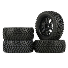 4Pcs 75mm Rubber Rally Climbing Car Off road Wheel Rim and Tires Hex For HSP HPI 1:10 RC Racing Car Accessories Component