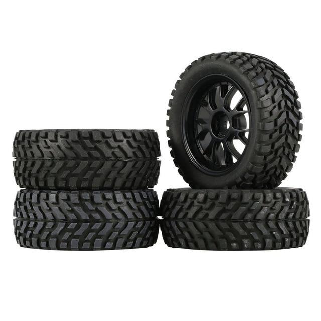 Jantes et pneus hexagonaux pour voiture de course en caoutchouc 75mm, 4 pièces, composants accessoires pour HSP HPI 1:10 RC