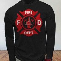 FIRE FIGHTER DEPARTMENT HERO RESCUE FIREMAN PRIDE Black Long Sleeve T Shirt