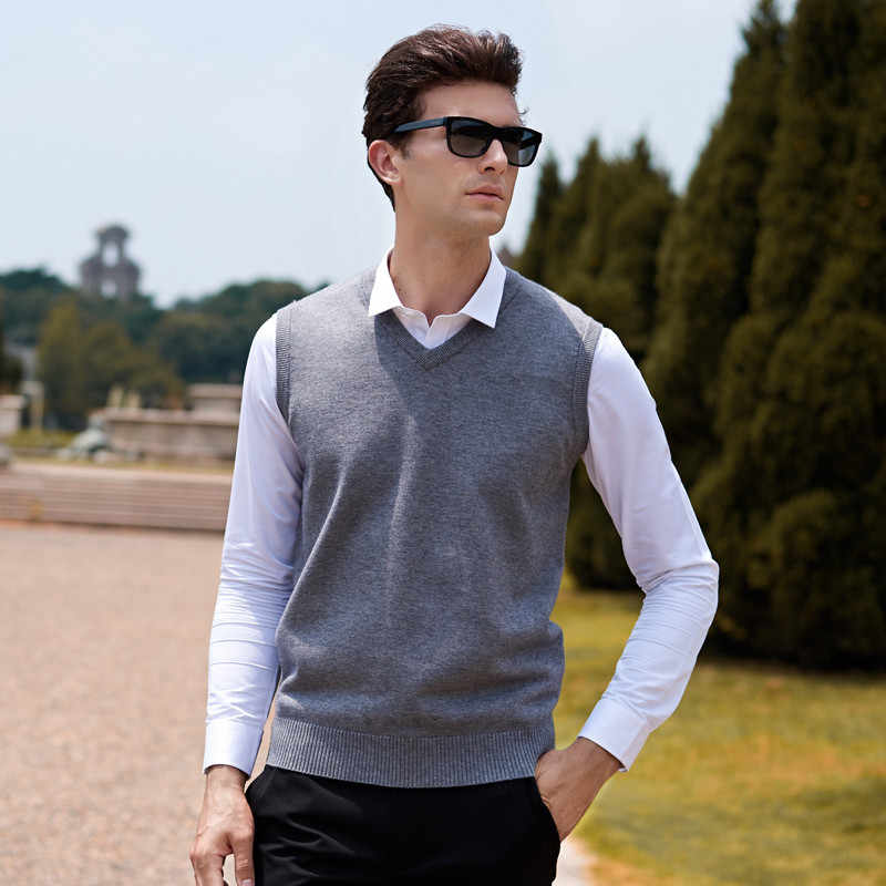 Sleeveless Wool Sweater Men Pull Homme Pullover Knitted Vest Solid V-Neck Slim Men's Sweater Tops Large Sizes Blusa Masculina