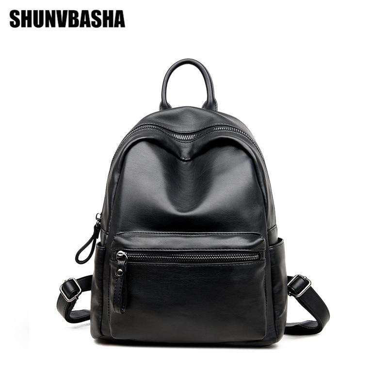 SHUNVBASHA 2017 Fashion Leather Famous Brand Designer School font b Backpack b font Student Travel font