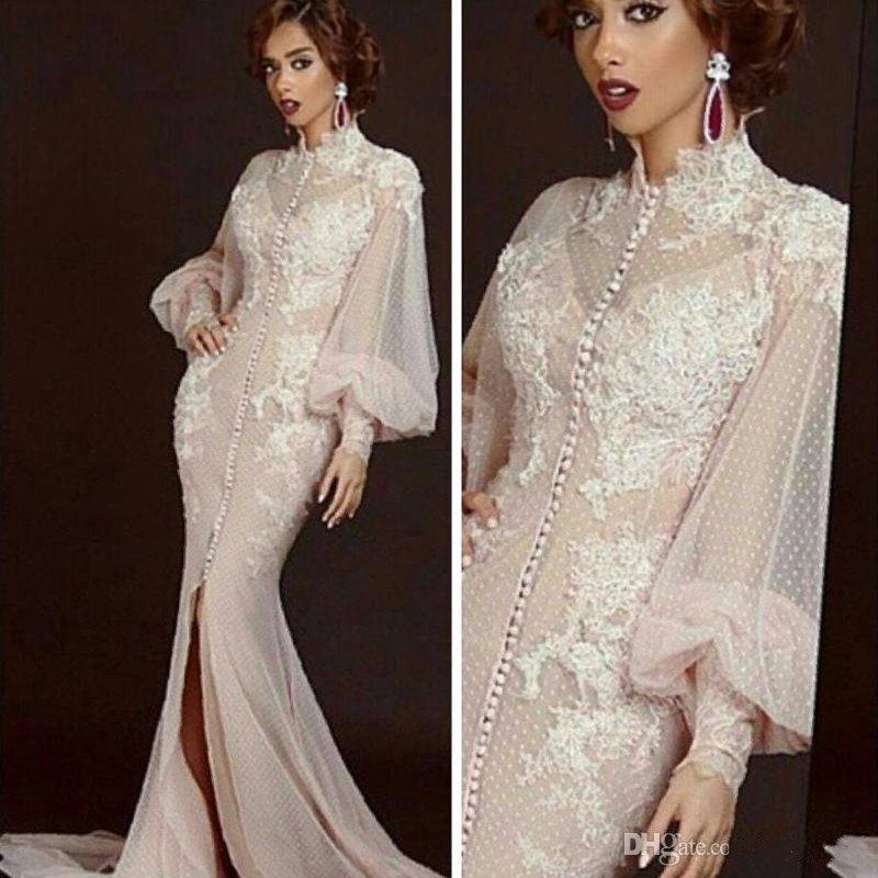 2018 Fashion Simple Beige Wedding Dresses Full Sleeve: Fashion Beige Evening Dresses 2017 High Neck Appliques
