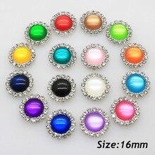 NEW 10pcs/ 16mm Resin Cat Eye Decoration button DIY Flatback Handwork Accessories Wedding Crafts Brooch for Silver