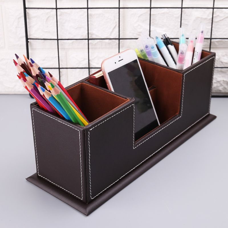 Office & School Supplies Multifunctional Office Desktop Decor Storage Box Leather Stationery Organizer Pen Pencils Remote Control Mobile Phone Holder