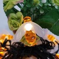 LED String Licht Nacht LED Solar String Honig Biene Form Warme Licht Garten Dekoration Wasserdicht Weihnachten Baum Haning Licht Lampe-in LED-Kette aus Licht & Beleuchtung bei