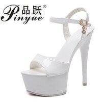 2018 Summer Fashion Women Sandals Sexy Extreme High Heels 15.5CM Sandal Platform Luxury Party Wedding Shoes Woman