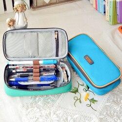 كوريا multifunction المدرسة أكياس قماش قدرة كبيرة قلم رصاص القضية و الستار مربع لصبي فتاة الأطفال هدية وازم القرطاسية